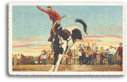 A vintage postcard illustrates a cowboy being bucked off a horse during a rodeo in Santa Fe, New Mexico (circa 1940s).